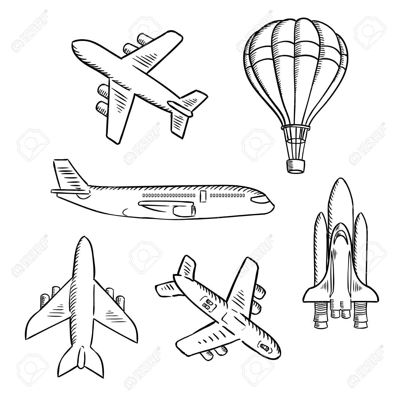 Air Transport Sketches With Jet Airplane Cargo Planes Vintage