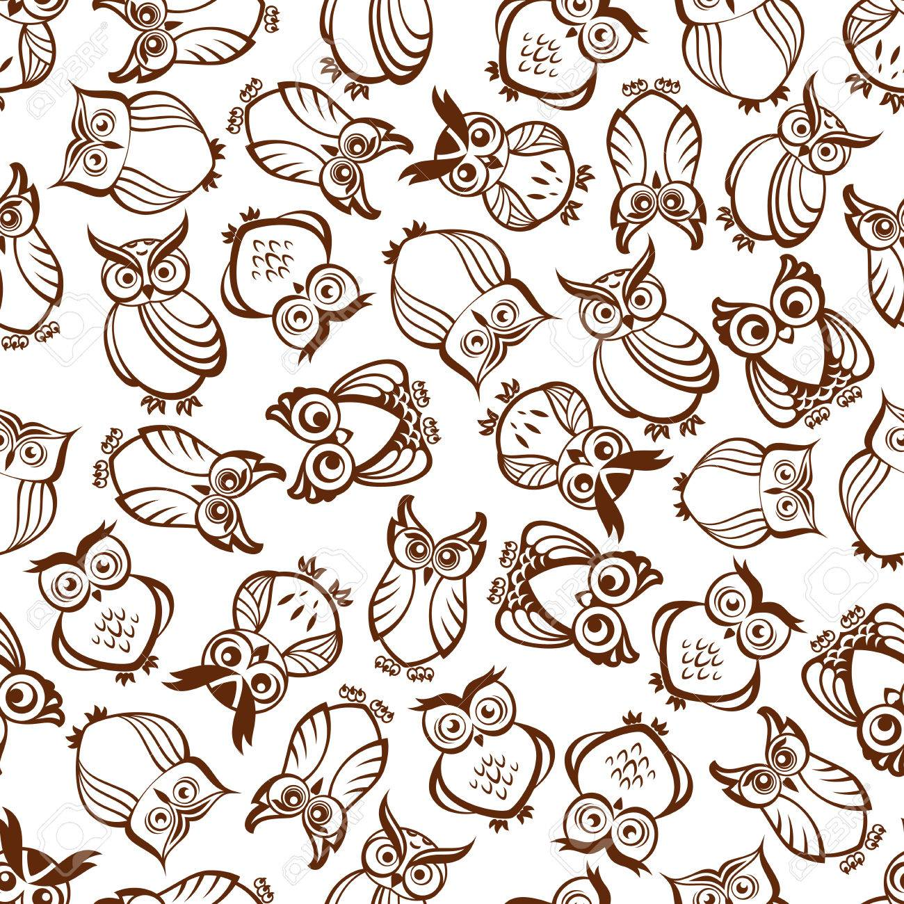 Cute Brown Owls Seamless Pattern With Outline Silhouettes Of