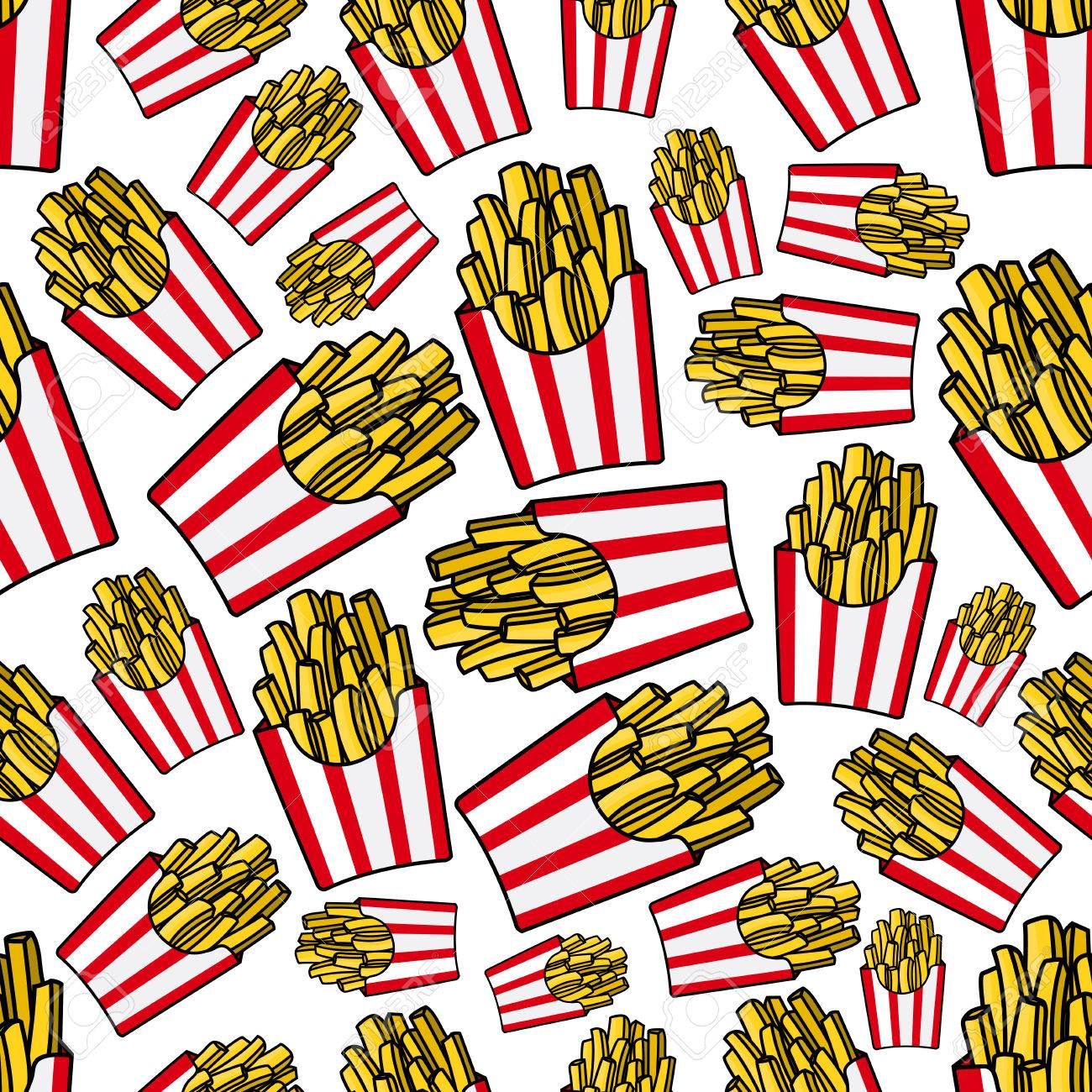 takeaway french fries cartoon background with seamless pattern