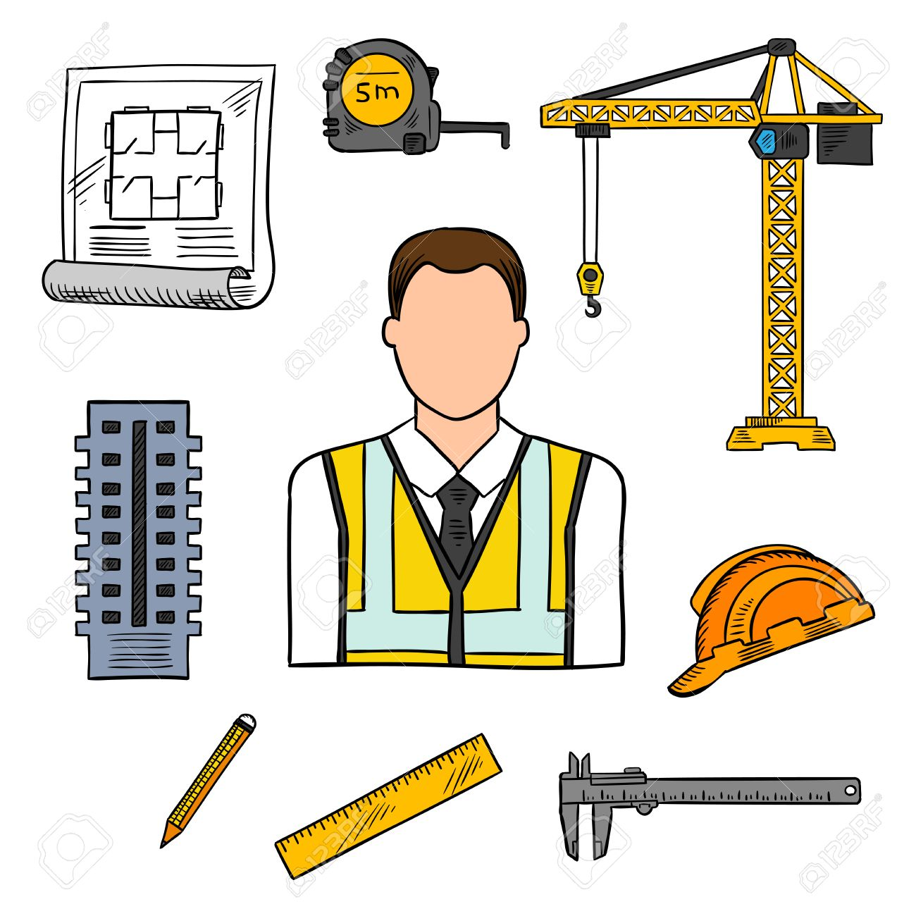 architectural engineering. Civil Engineering Professions Design Of Architectural Engineer In Yellow High Visibility Vest With Architects Drawing,