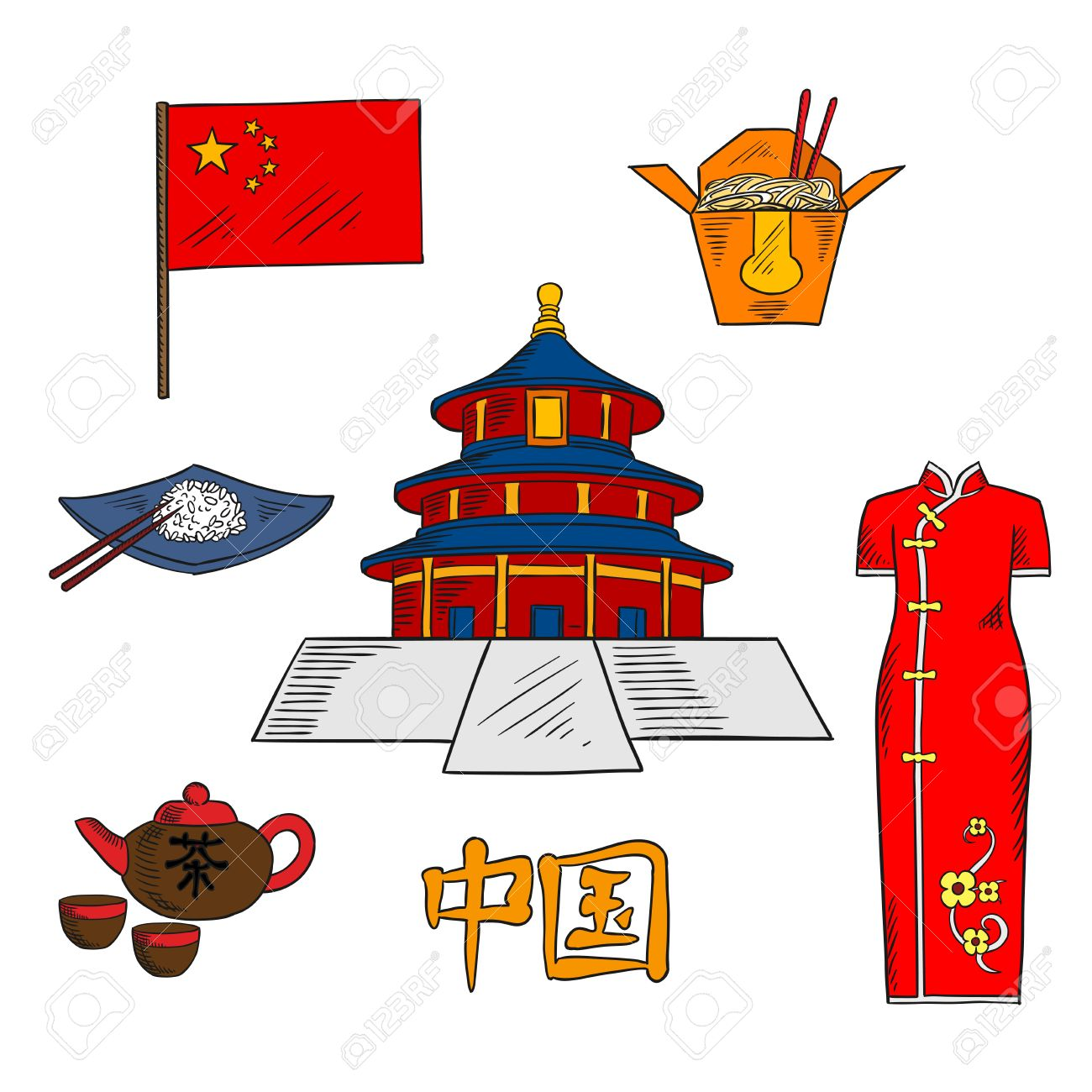 Culture traditions cuisine and tourist attractions of china culture traditions cuisine and tourist attractions of china with colored sketches of national flag of buycottarizona Gallery