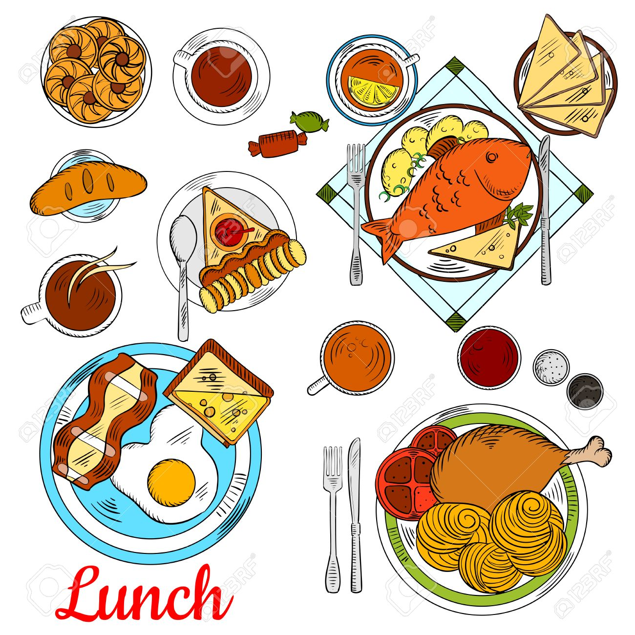 Healthy lunch menu icon with colorful sketches of fried egg with healthy lunch menu icon with colorful sketches of fried egg with bacon and toast with cheese biocorpaavc Gallery