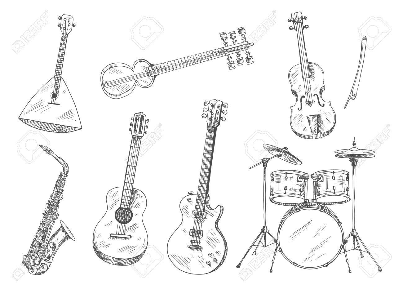 Sketchy drum set, acoustic and electric guitars, violin, saxophone,