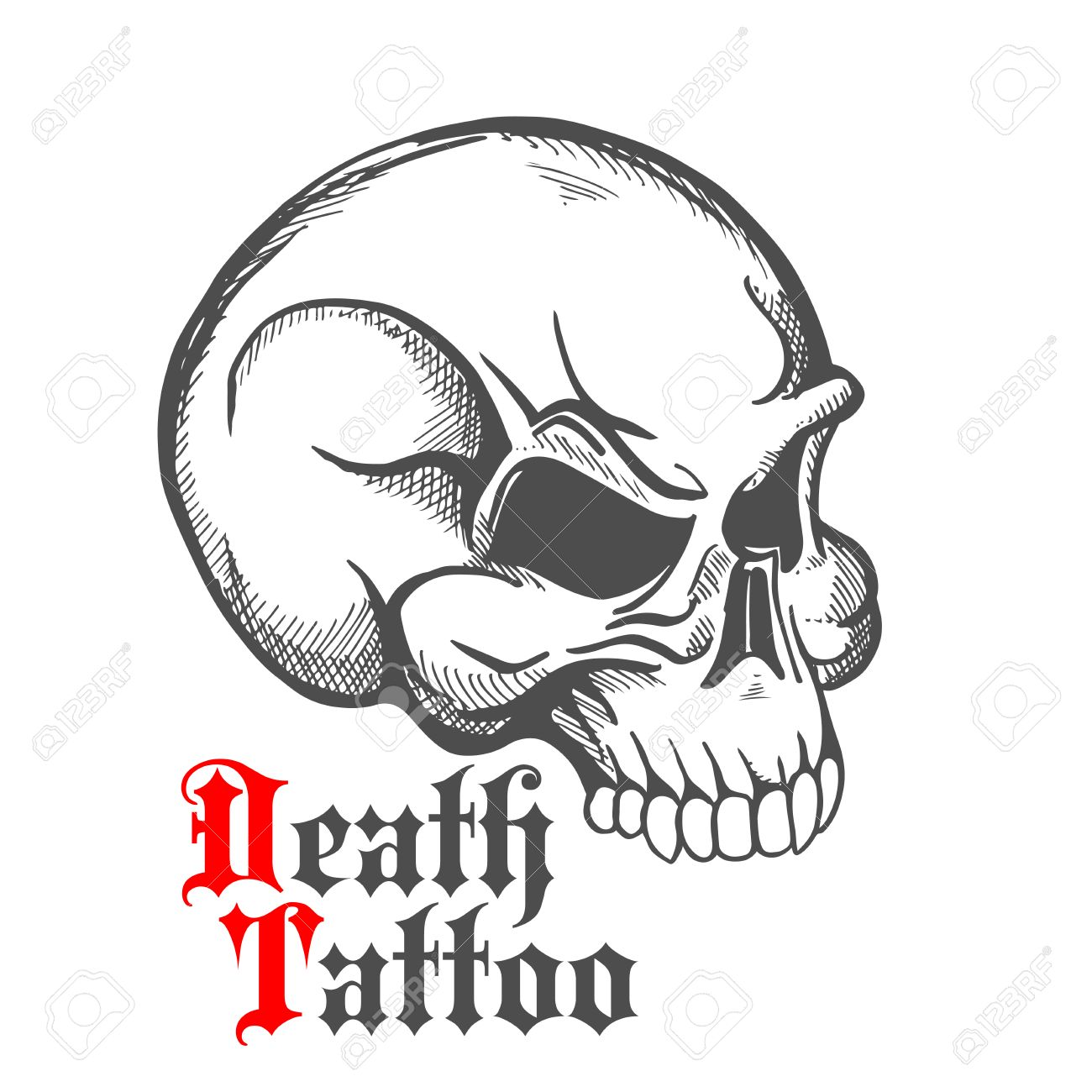 Decorative vintage sketch of human skull for tattoo or death decorative vintage sketch of human skull for tattoo or death symbol design with half turn profile buycottarizona Images