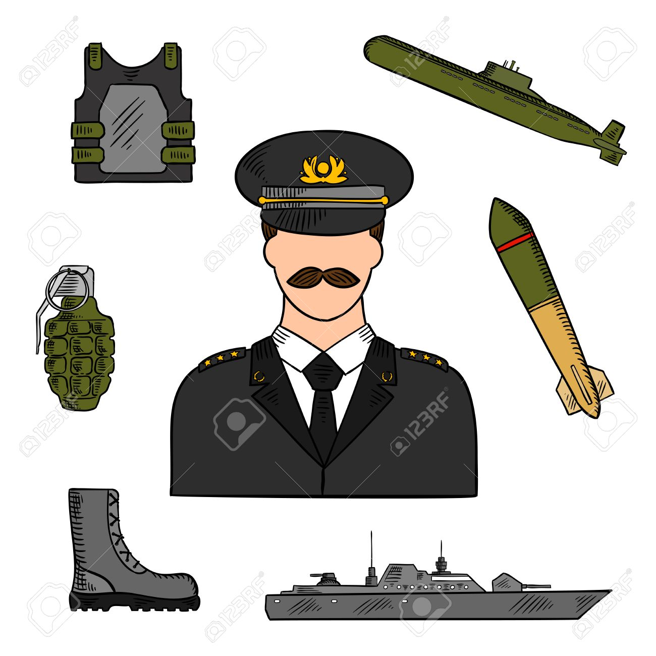 military man surrounded by army navy marines and coast guards