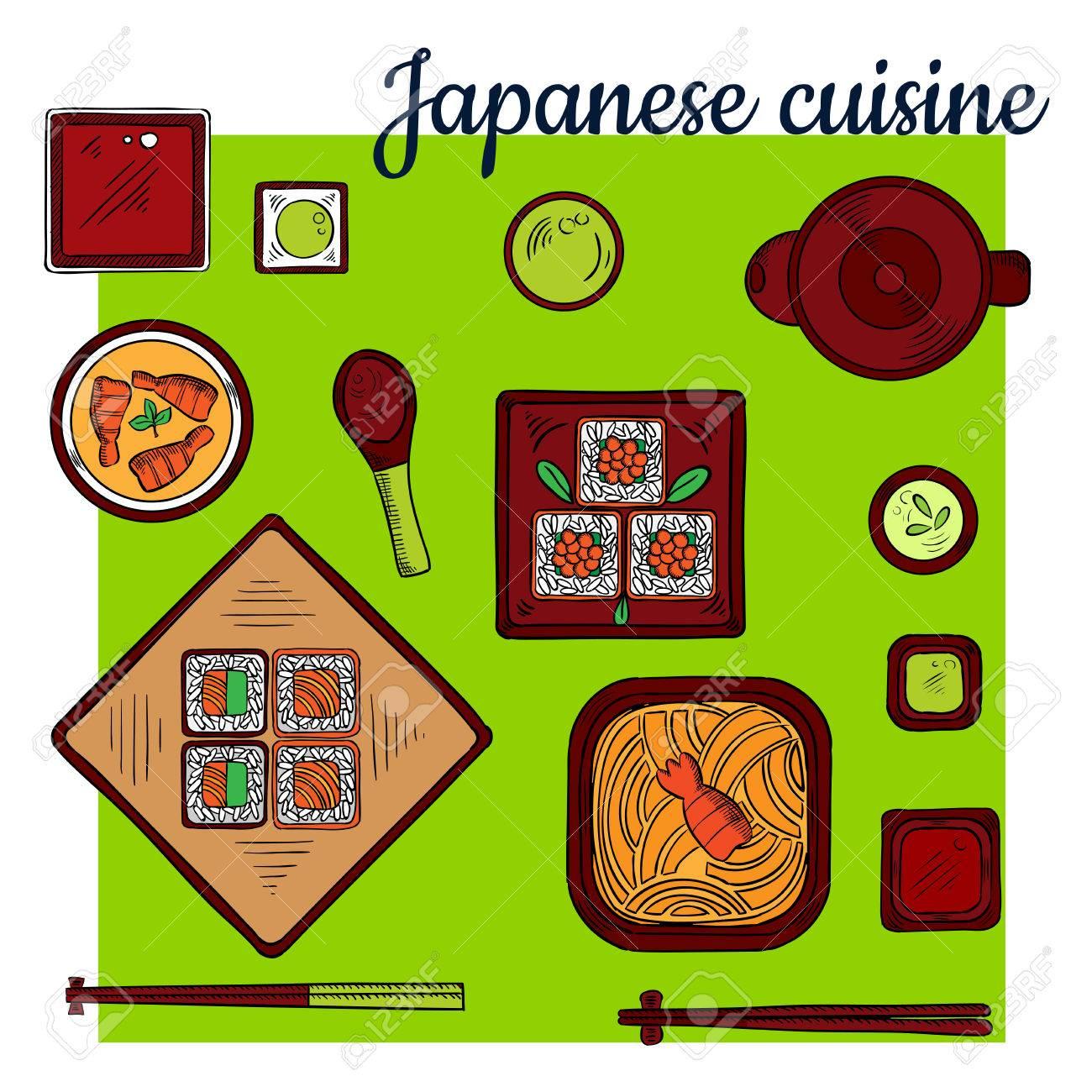 Beliebte Orientalische Fischgerichte Der Japanischen Küche Bunte ...
