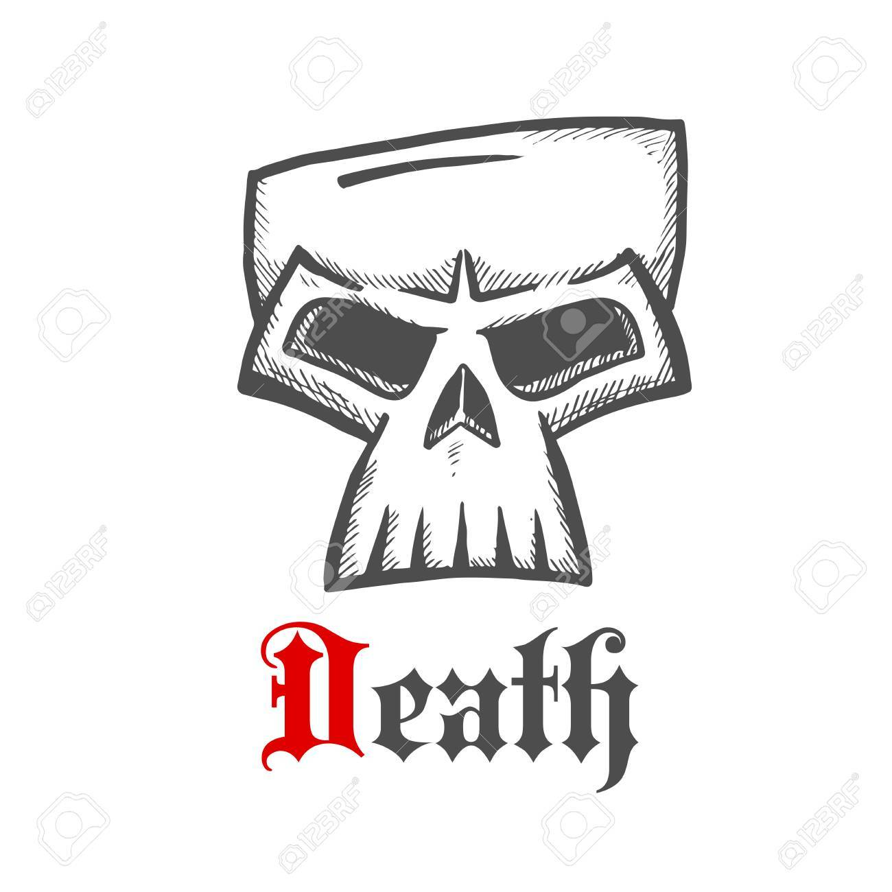 Face of a death symbol with dark grey sketch of sullen skull face of a death symbol with dark grey sketch of sullen skull with ornamental gothic caption buycottarizona Images