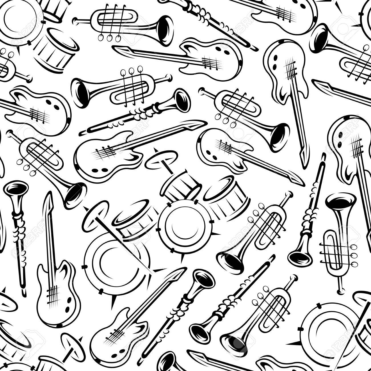 Black And White Jazz Band Or Orchestra Musical Instruments Seamless Pattern With Outlined Guitars Drum