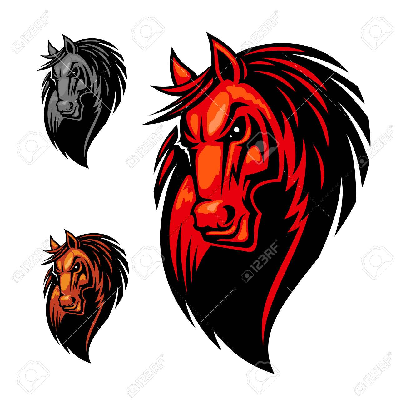 7b7749e028 Vector - Wild angry horse head mascot. Mustang or stallion in cartoon style  for equestrian sport