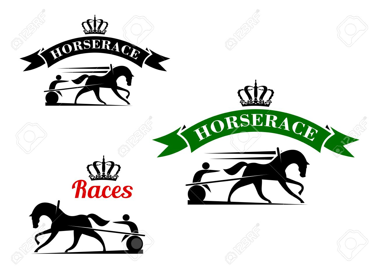 Equestrian Sport Competition Icons For Harness Racing Design