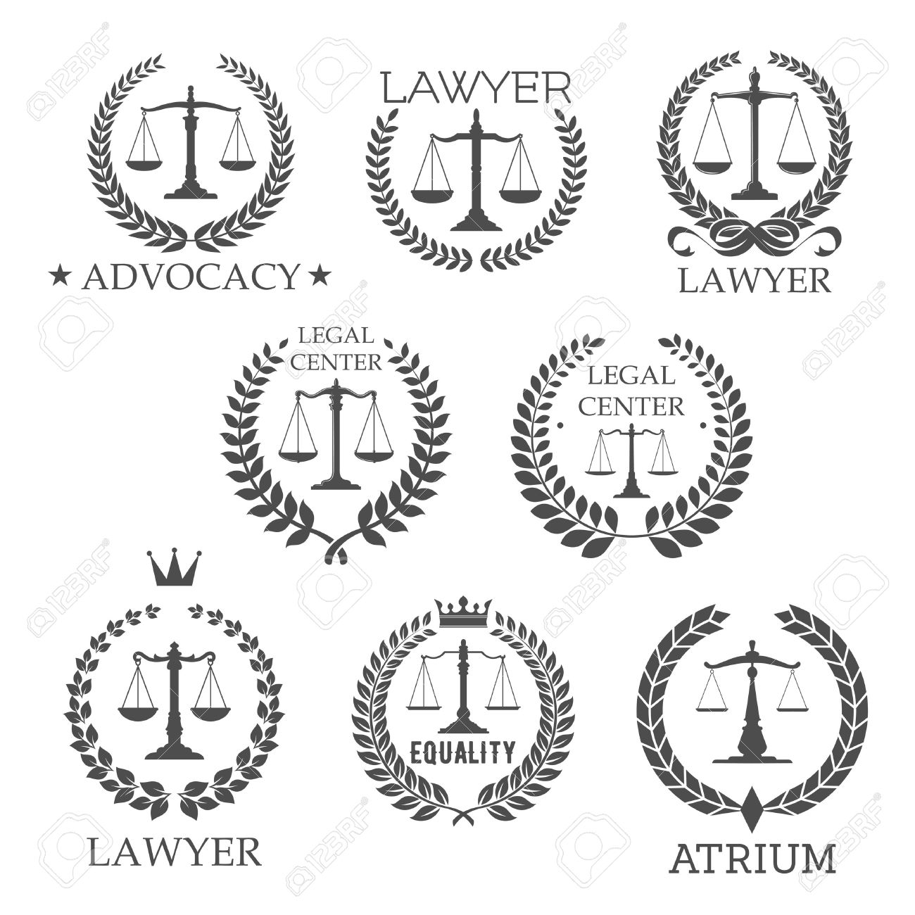 Scales Of Justice In Laurel Wreath Frames Retro Symbols For Lawyer