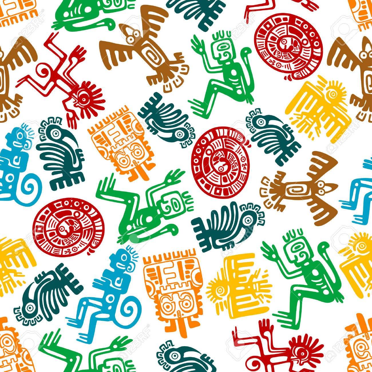 antiguos tótems animales y aves de maya o azteca de fondo con el