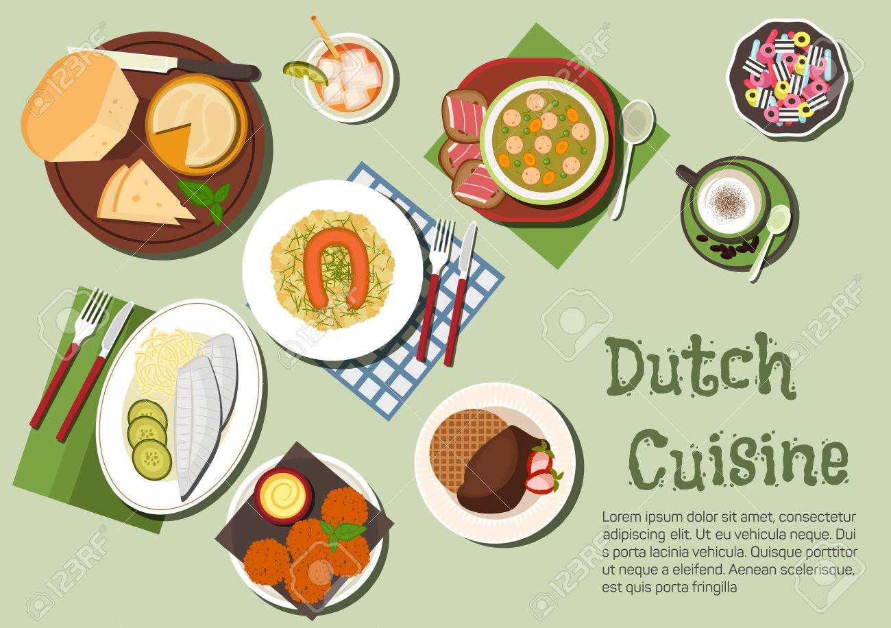 Native dishes of dutch cuisine icon with flat symbols of cheese native dishes of dutch cuisine icon with flat symbols of cheese platter pea and smoked biocorpaavc Images