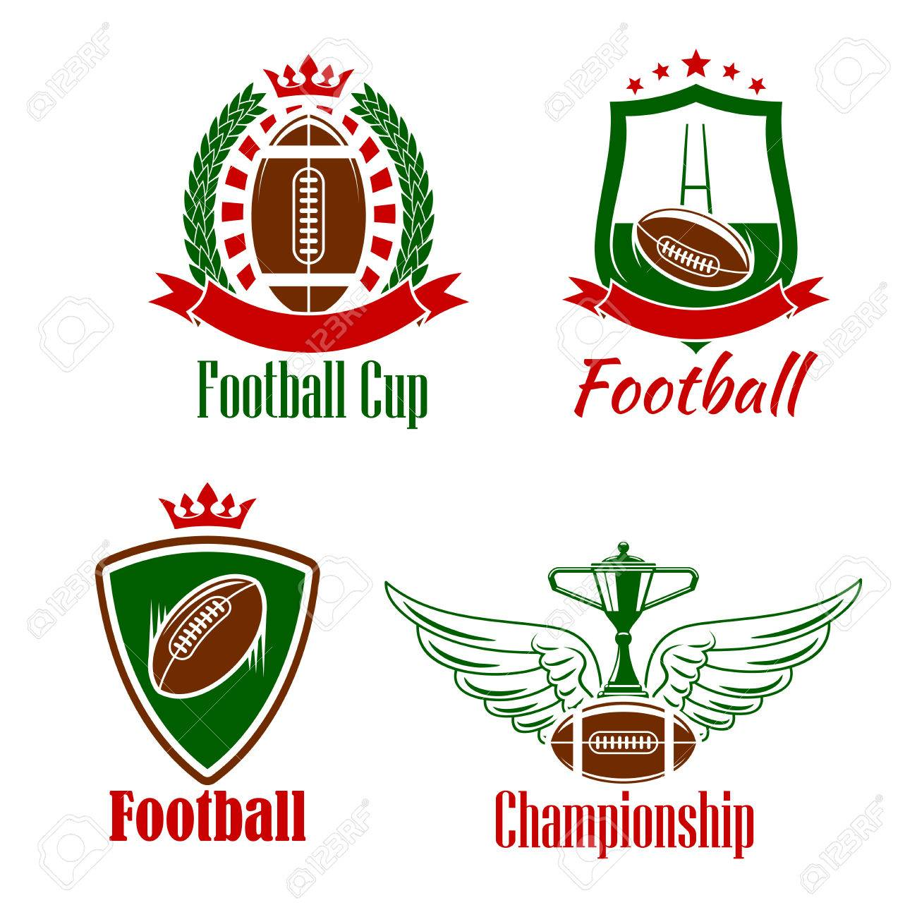 Retro Sporting Symbols For Rugby Championship Or Sport Club Design And Gate Symbol With Winner Trophy Cup Stands On Winged Ball Heraldic Shields Laurel Wreath