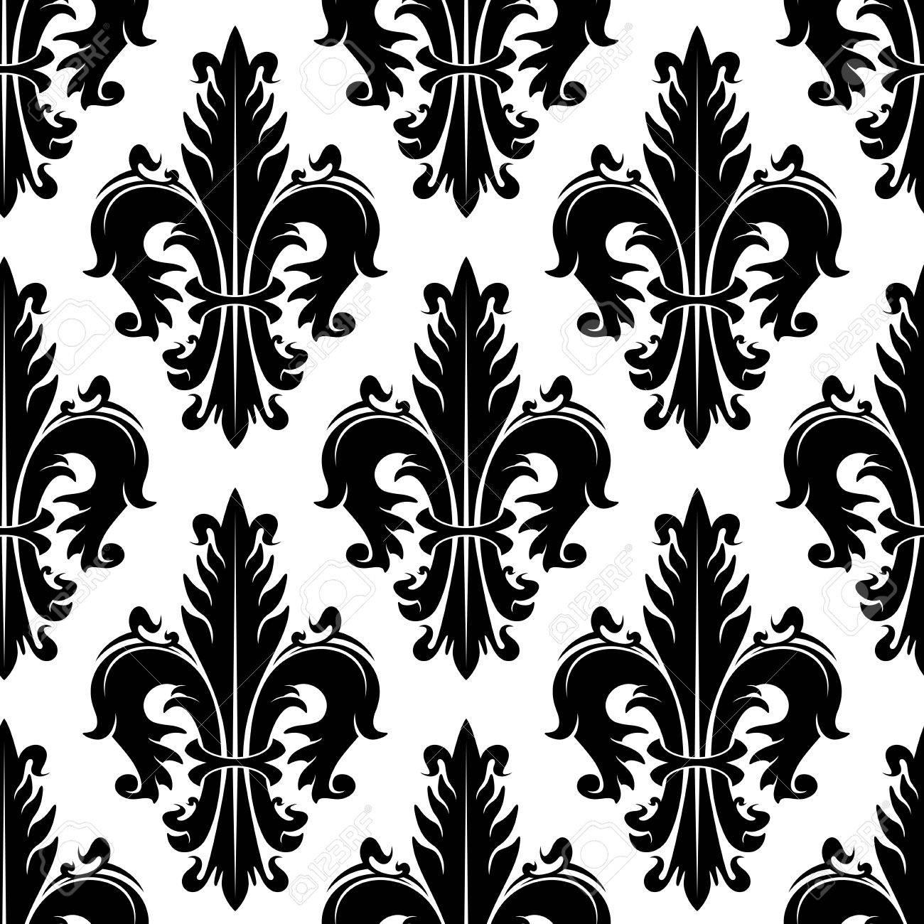 Schwarz-Weiß-Zier-Fleur-de-lis Hintergrund Für Heraldik Thema Oder ...