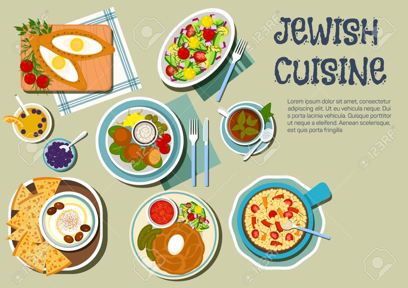 Shabbat day dishes of jewish cuisine icon with flat symbols of shabbat day dishes of jewish cuisine icon with flat symbols of cholent stew served with biocorpaavc