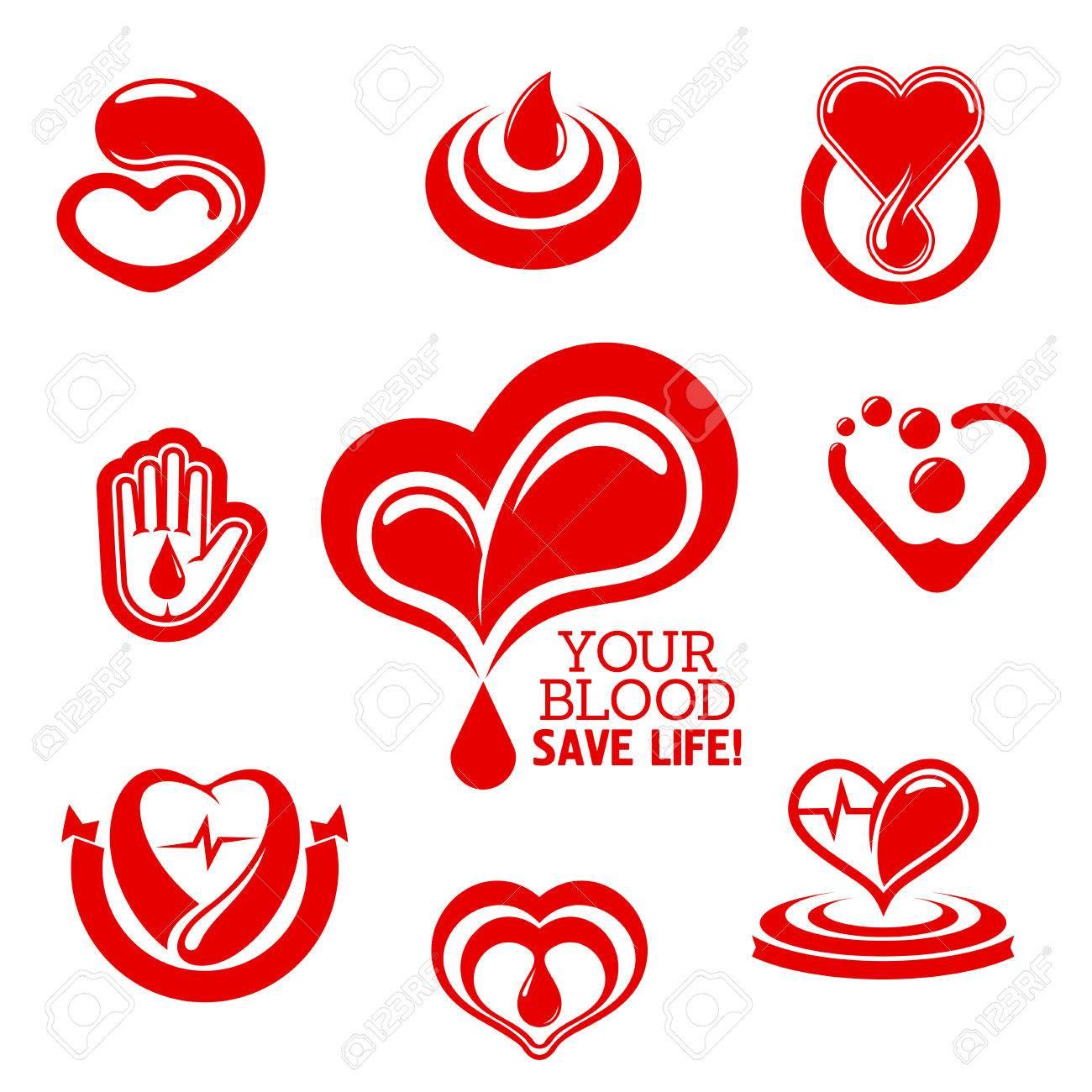 Donación De Sangre Símbolos Conceptuales Con Corazones De Color Rojo