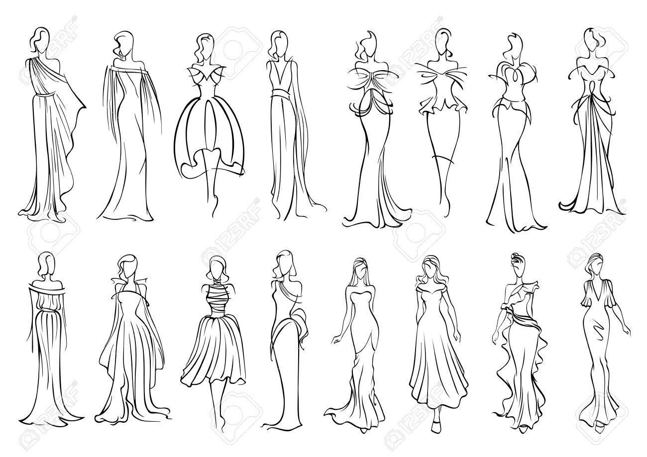 Modelos De Manera Esbozado Siluetas Con Elegantes Mujeres Jóvenes En Vestidos De Noche Largo Sin Mangas Y Vestidos De Cóctel Con Encanto Industria De