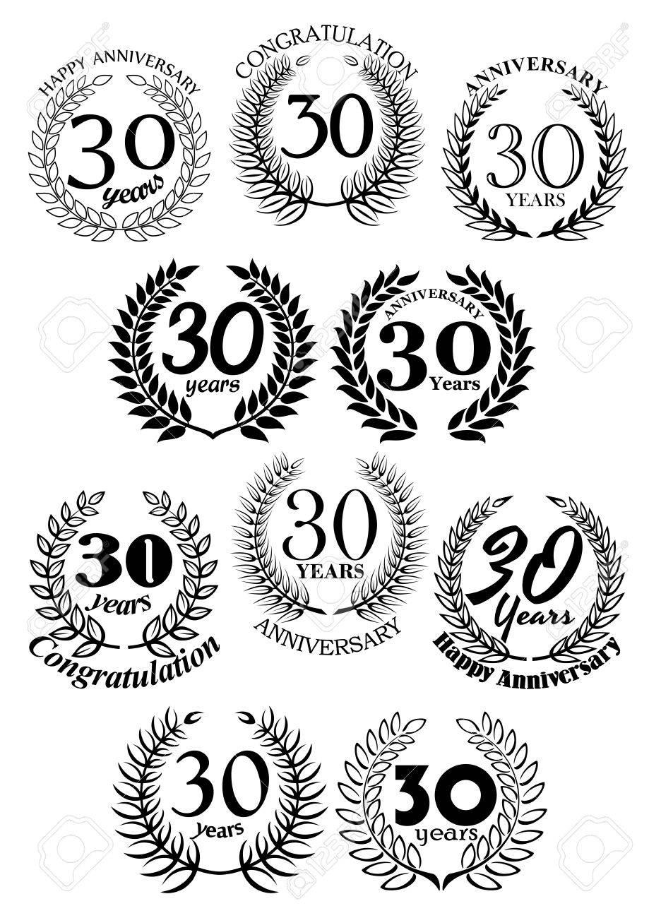 Anniversary Heraldic Frames Retro Symbols With Black Laurel Wreaths