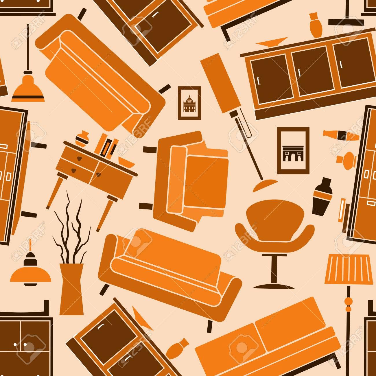 Muebles Para El Hogar Fondo En Colores Cálidos Con El Patrón De ...