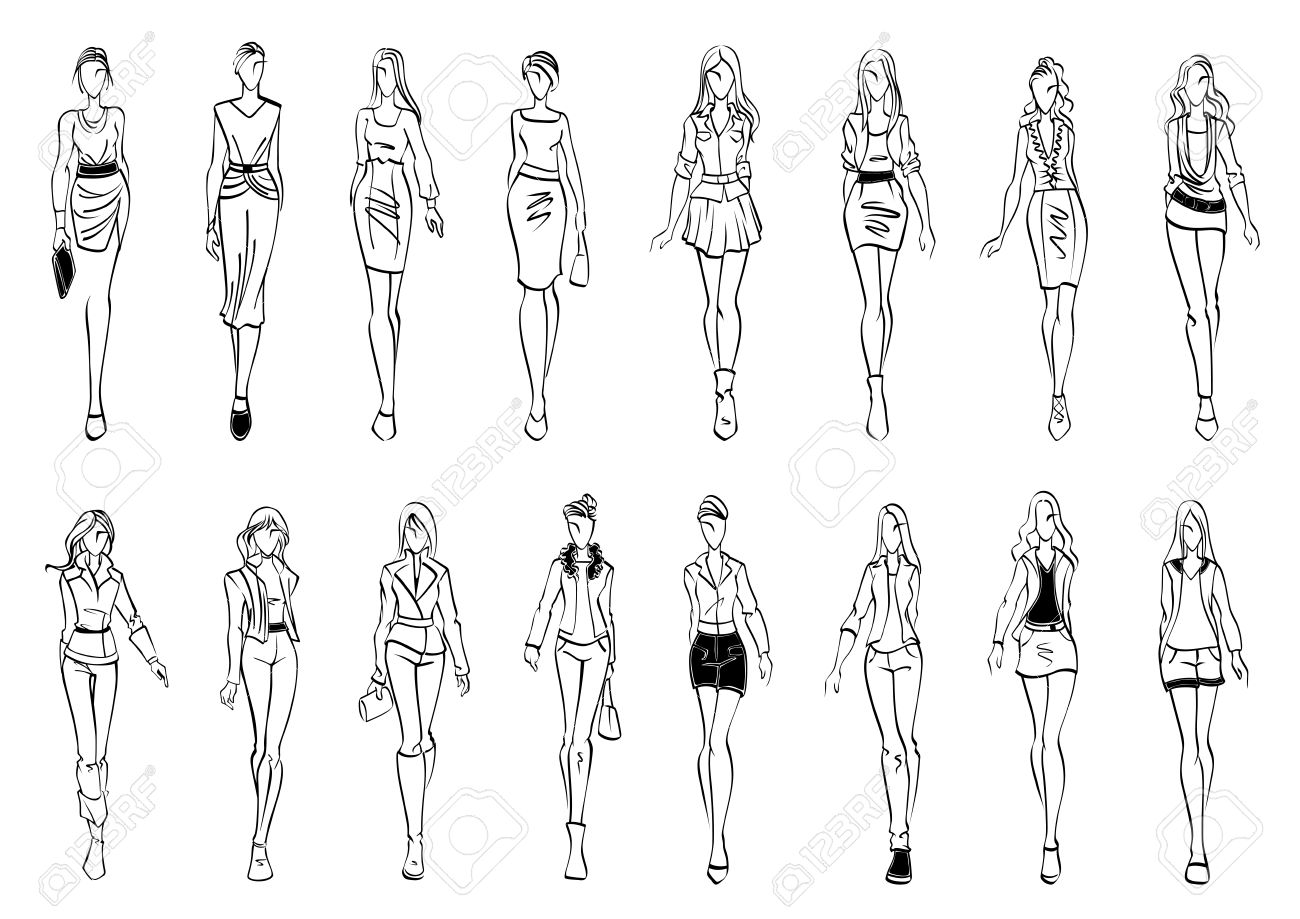 Black and white fashion models sketch icons with silhouettes of young women presenting stylish everyday clothes for office and leisure activity. Use as fashion show theme or shopping design - 56805701