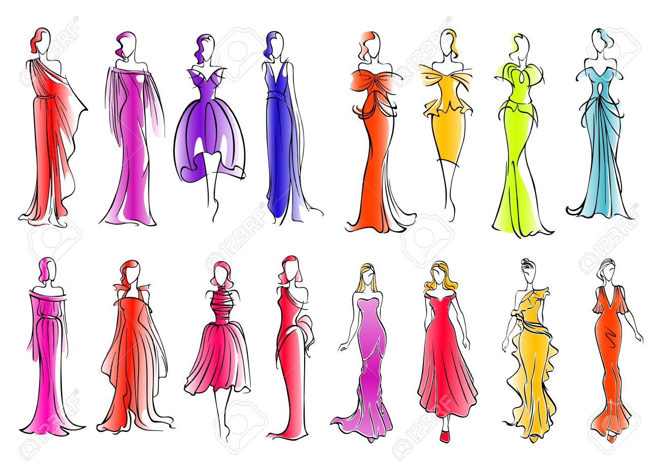 Fashionably Frauen Skizze Silhouetten Für Modeindustrie Oder ...