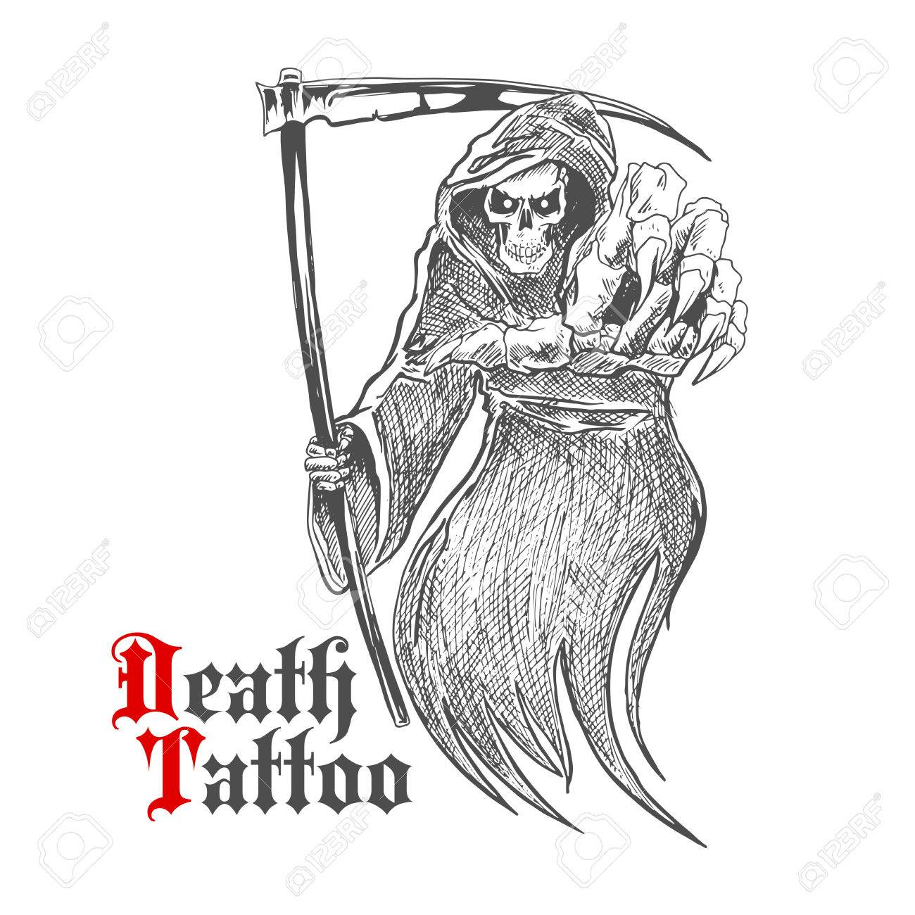 Sketch Cartoon Dreadful Grim Reaper In Old Hooded Cloak With