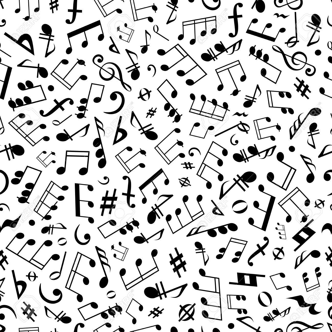 Sin Costura Símbolos Musicales Y Las Marcas De Patrón De Fondo ...