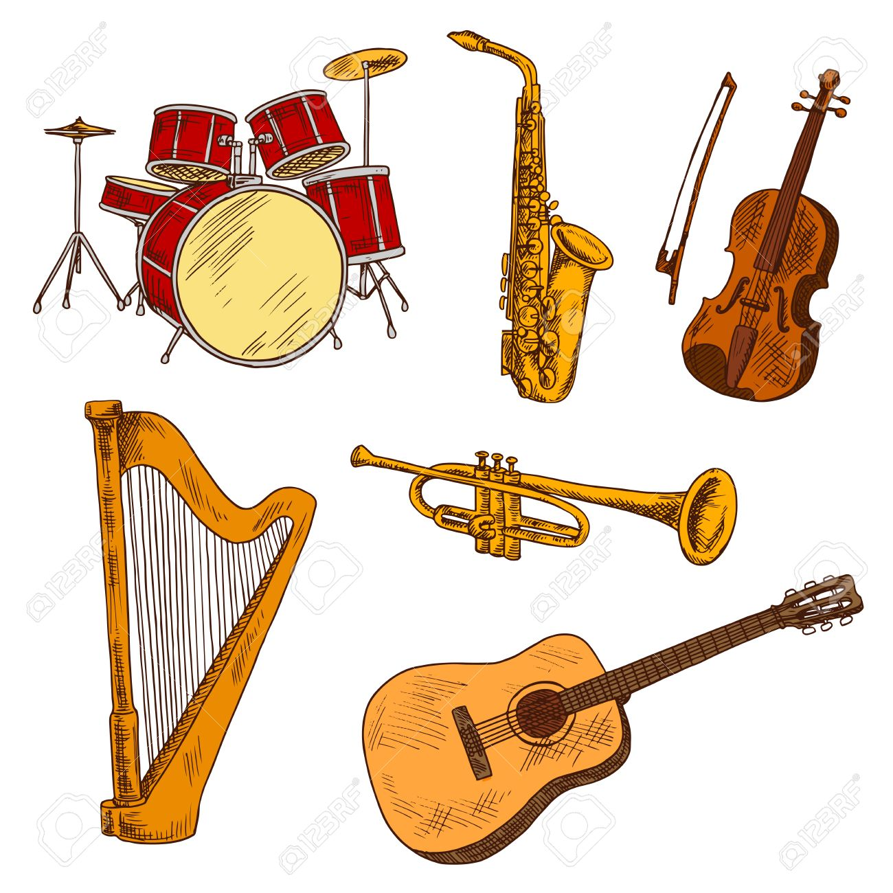 String Brass And Percussion Musical Instruments Symbols With