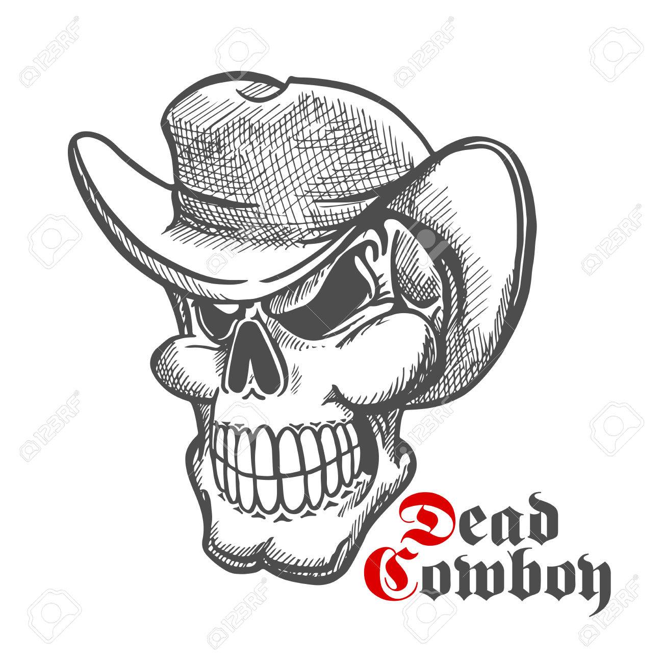 Dead cowboy sketch symbol with baring teeth old human skull in dead cowboy sketch symbol with baring teeth old human skull in felt hat great for biocorpaavc Image collections
