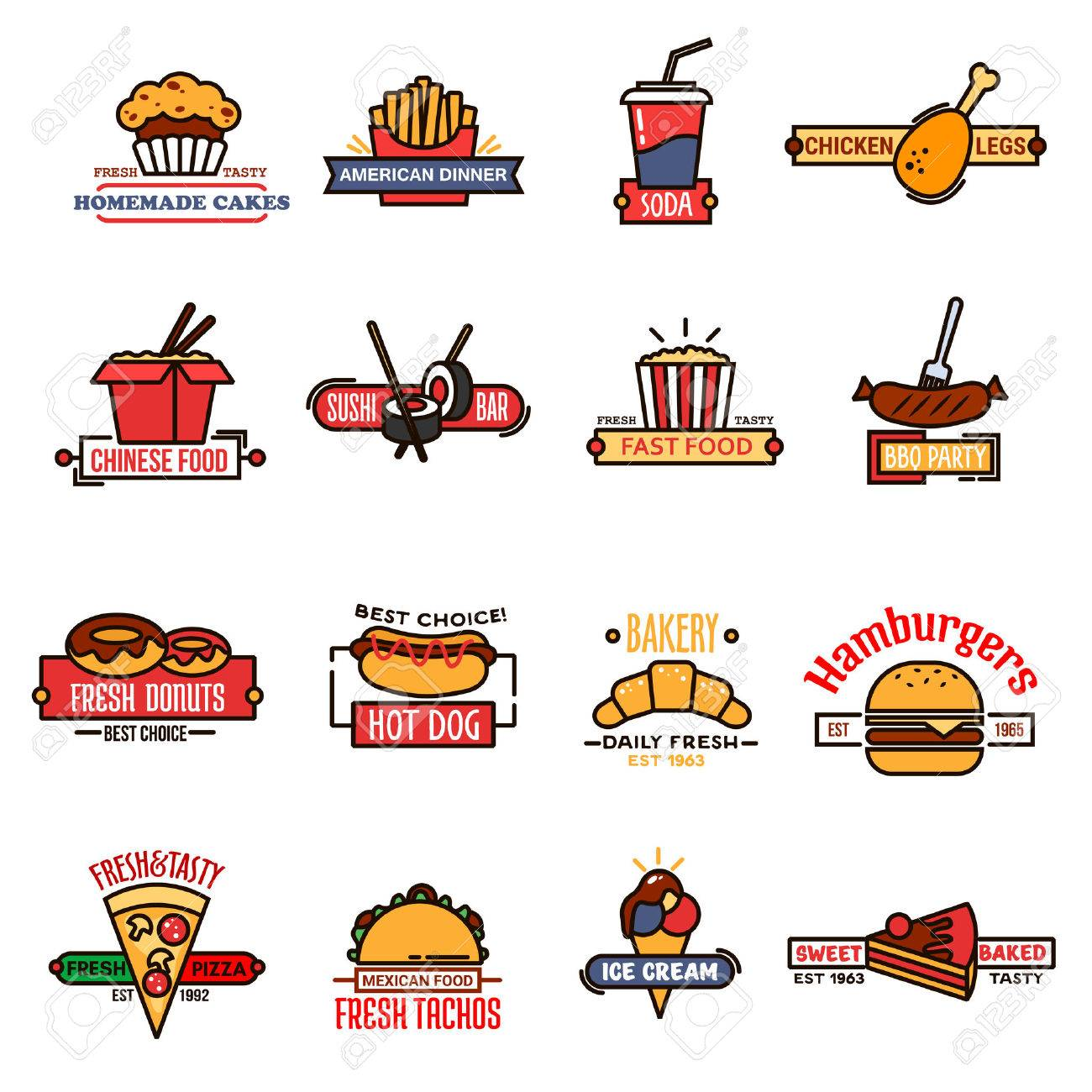 Fast Food Cafe Bakery Shop And Sushi Bar Thin Line Symbols With