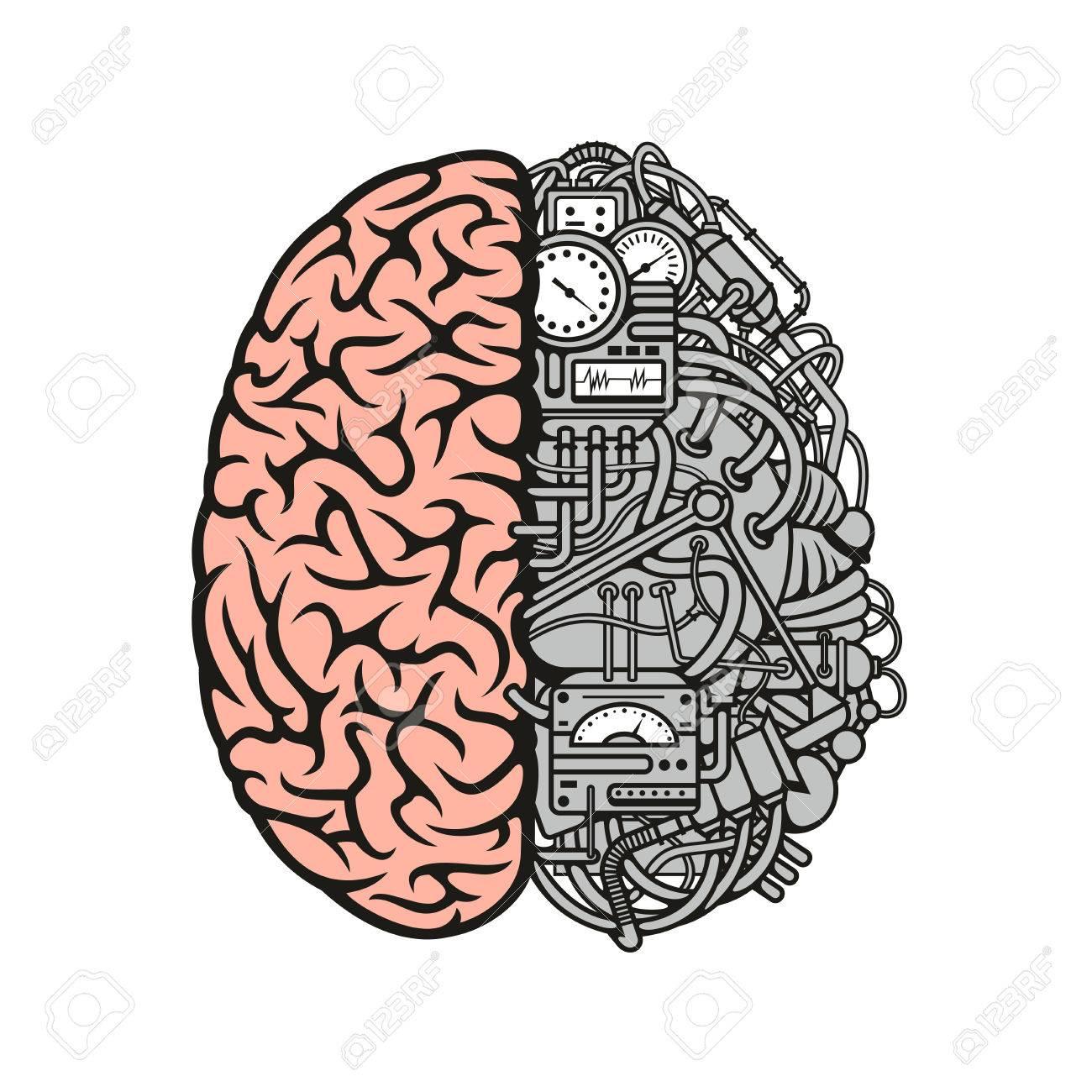 Símbolo De La Maquinaria Cerebral Dibujos Animados Con El Hemisferio ...