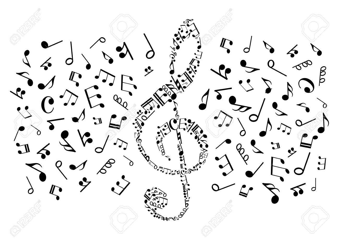 La Música Símbolo Decorativo De Clave De Sol Compuesta De Notas