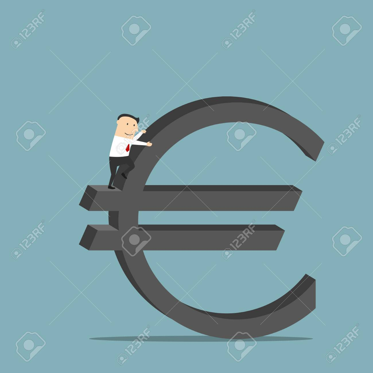 Purposeful cartoon businessman is conquering a large sign of purposeful cartoon businessman is conquering a large sign of euro currency as symbol of financial success buycottarizona Choice Image