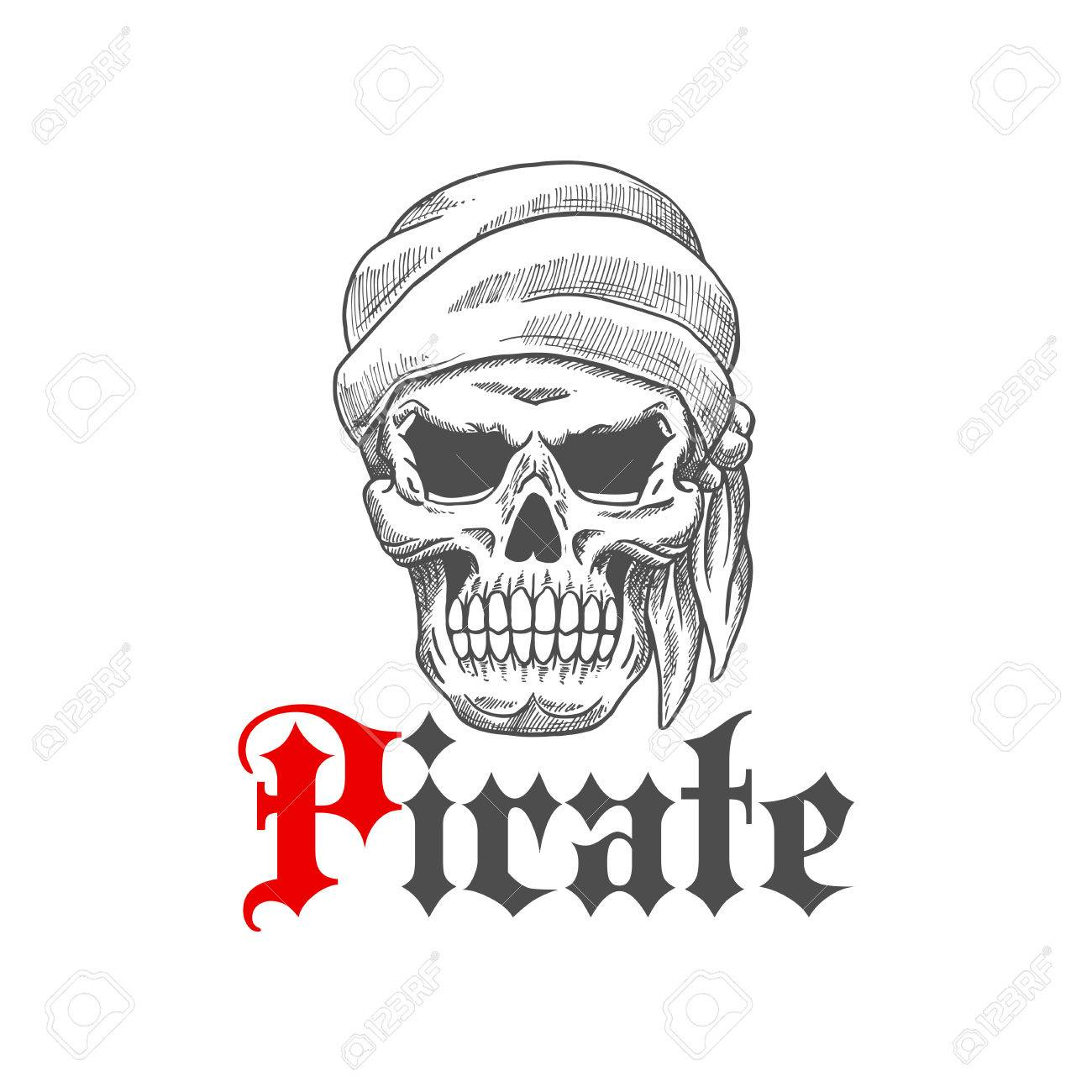 Dead pirate tattoo symbol with sketched evil human skull wearing dead pirate tattoo symbol with sketched evil human skull wearing bandana with scary empty eye sockets buycottarizona Images