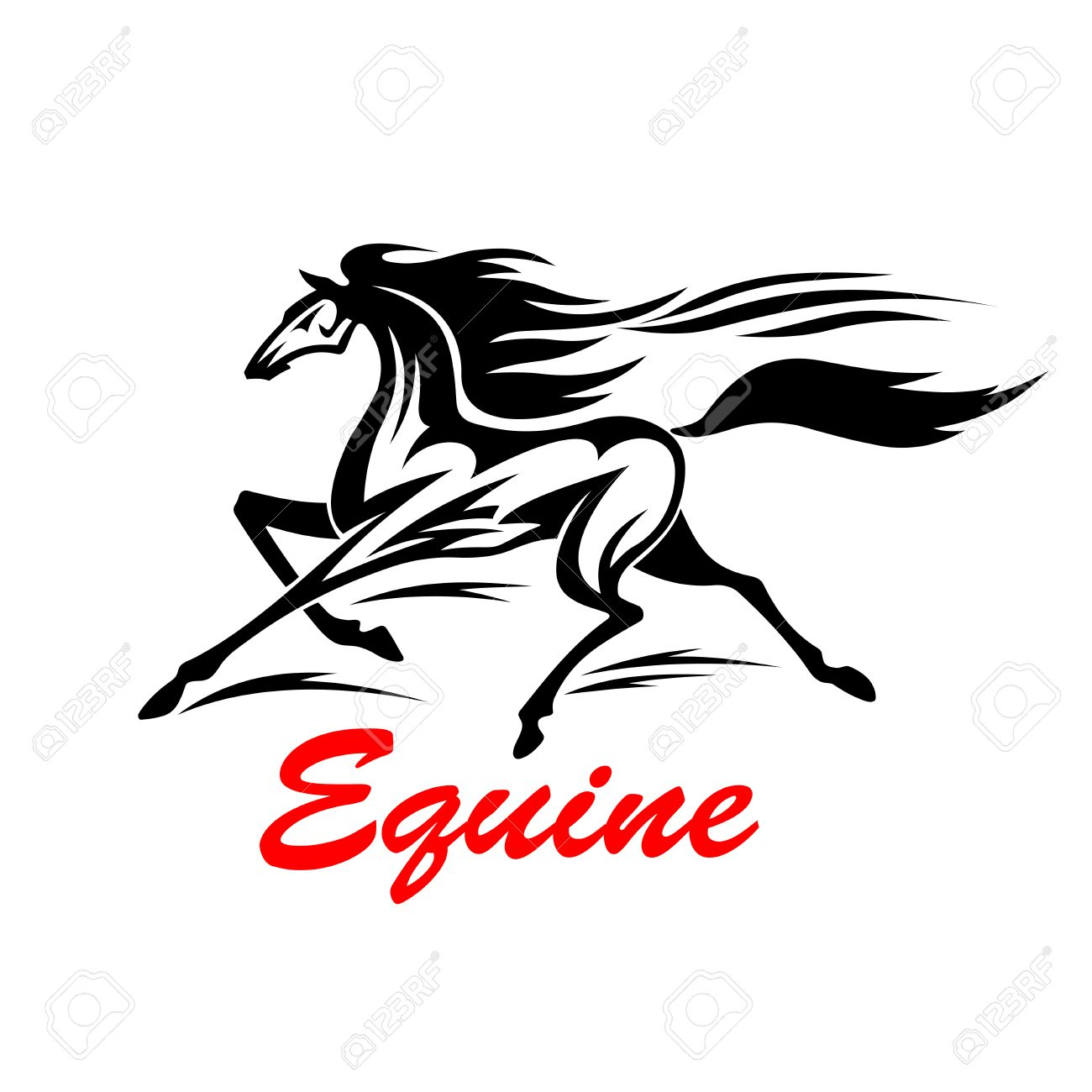 Galloping Wild Mustang Is Competing In Speed With Wind Tribal Royalty Free Cliparts Vectors And Stock Illustration Image 58721370