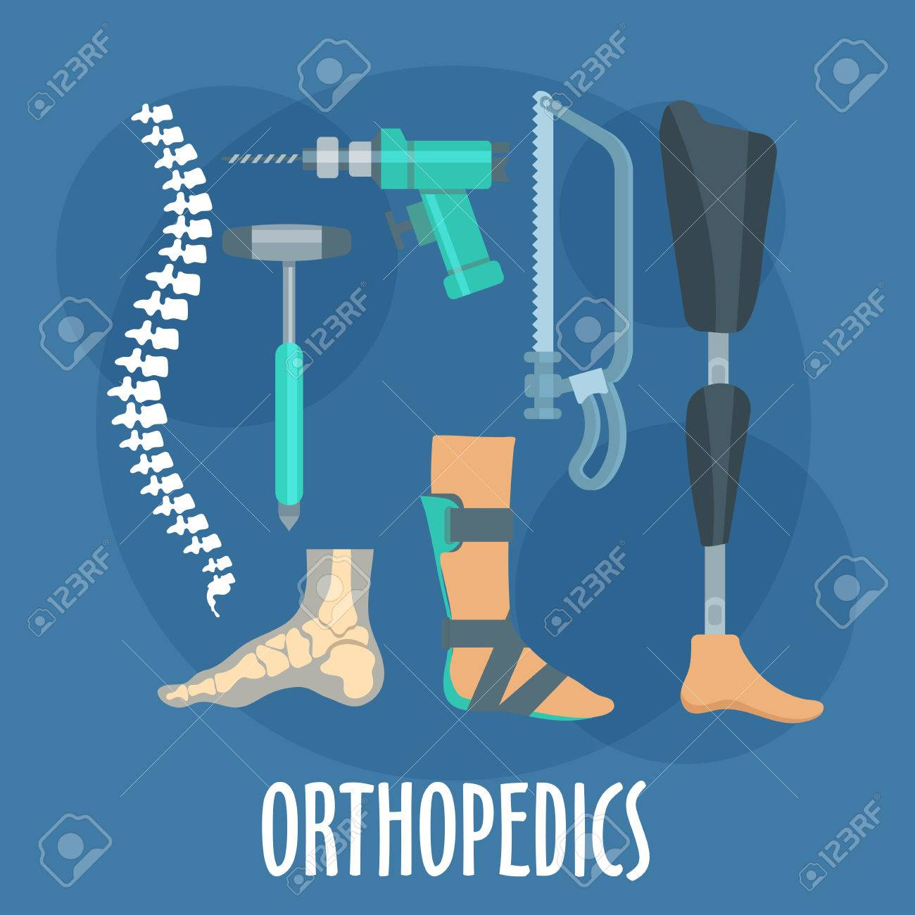 Orthopedics and prosthetics medicine symbol for orthopaedic clinic design usage with bones of vertebral column and foot, prosthetic leg and ankle foot orthosis, charriere bone saw, bone drill and medical hammer. Flat style - 58721374