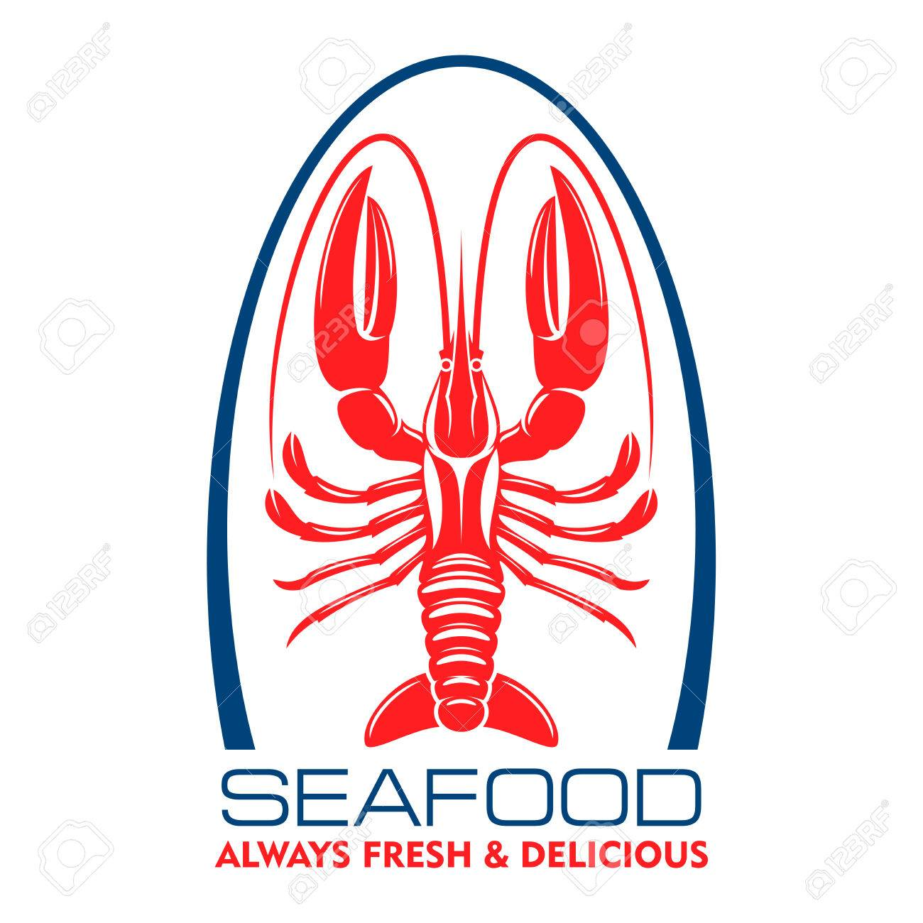 Delicious Wild Caught Marine Lobster Or Crayfish Red Symbol For