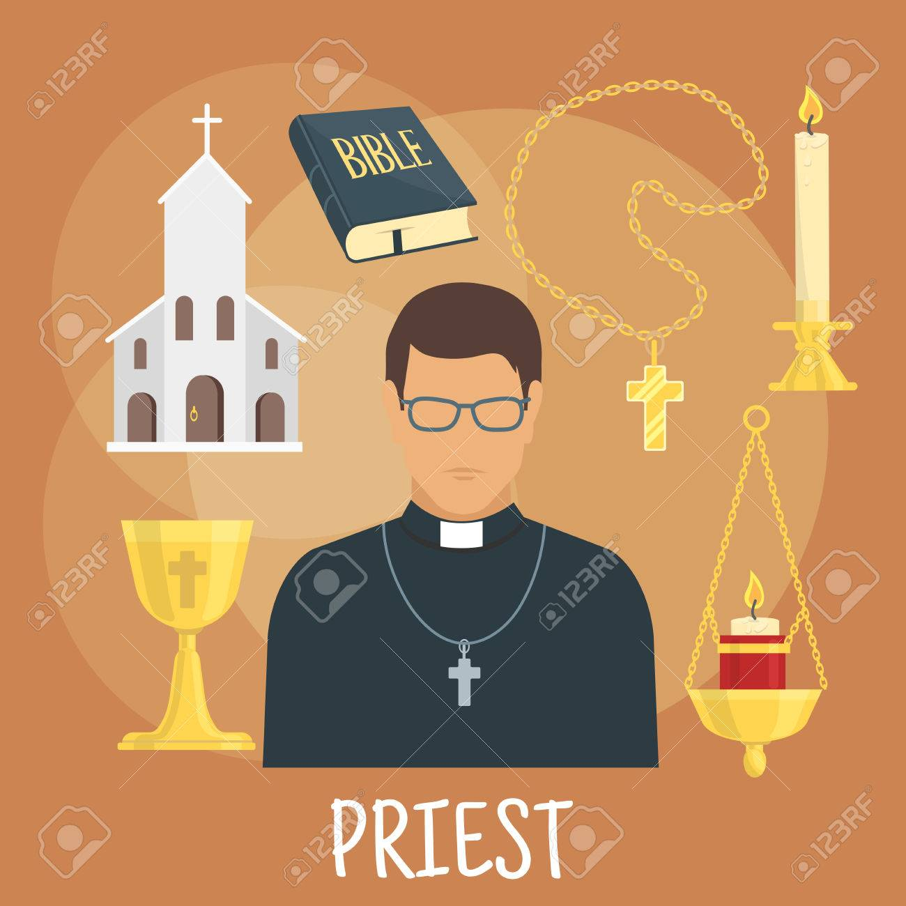 Young catholic priest icon wearing black cassock glasses and young catholic priest icon wearing black cassock glasses and cross with flat symbols of church buycottarizona Gallery