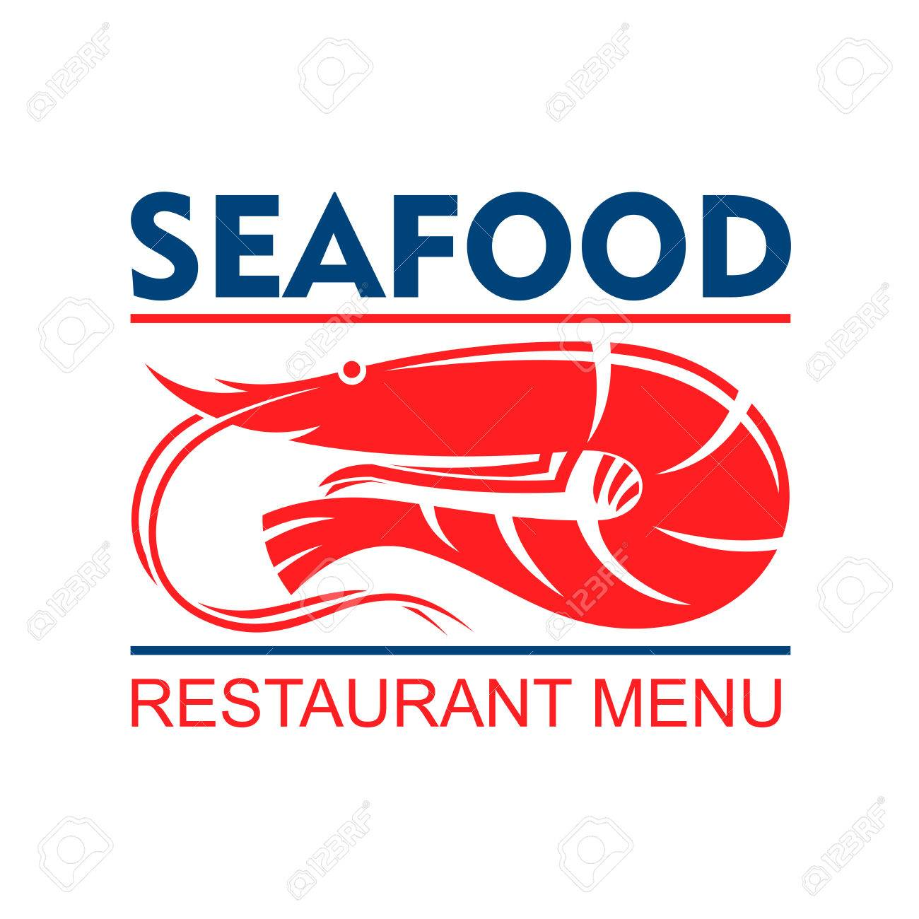 Seafood Restaurant Menu Badge Design Template With Marine Red