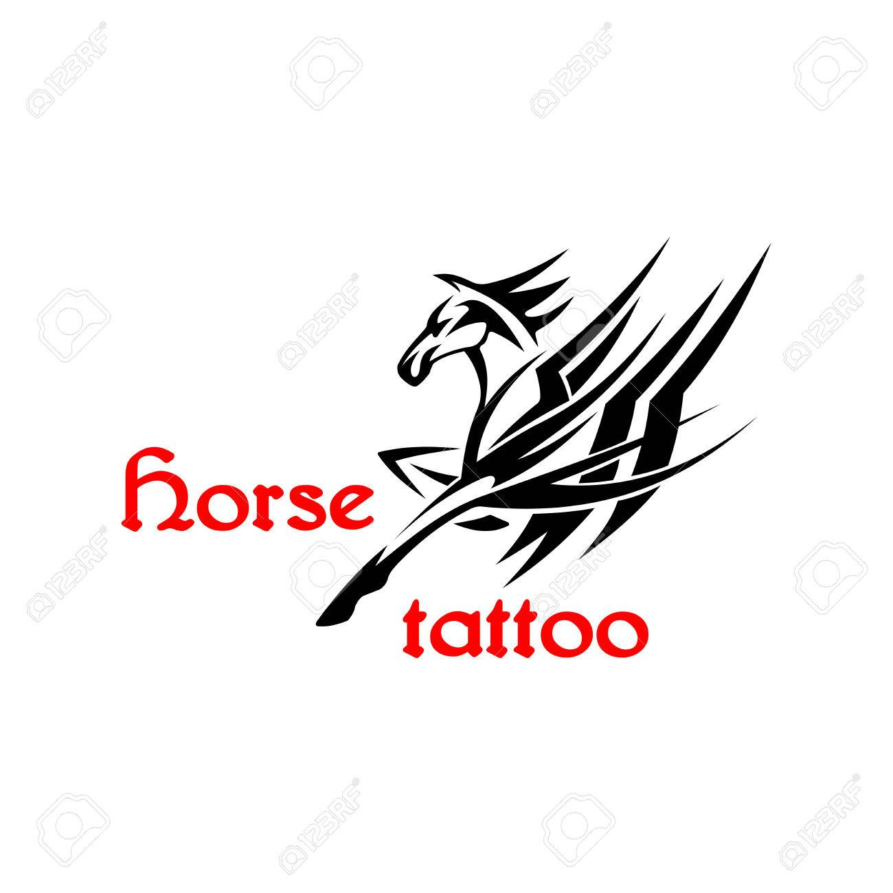 Design a t shirt horse - Running Horse Or Pegasus Symbol For Tattoo Or T Shirt Print Design Usage With Brutal