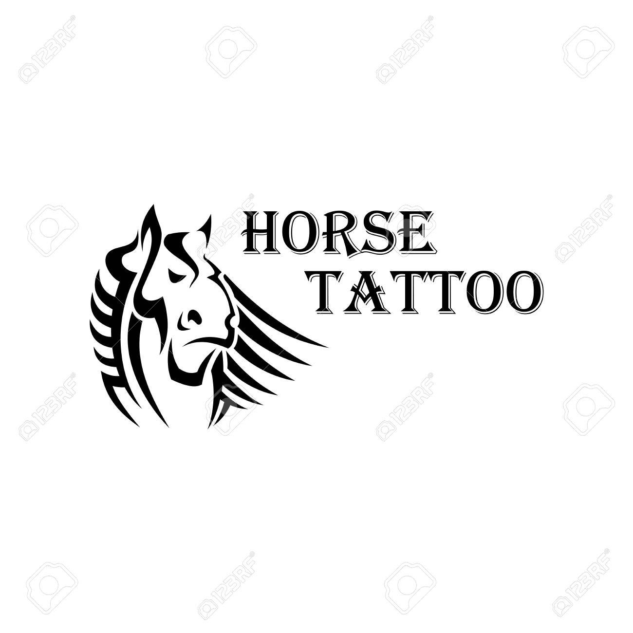 Tribal Horse Tattoo Design Element With A Head Of Dutch Heavy Royalty Free Cliparts Vectors And Stock Illustration Image 58724030