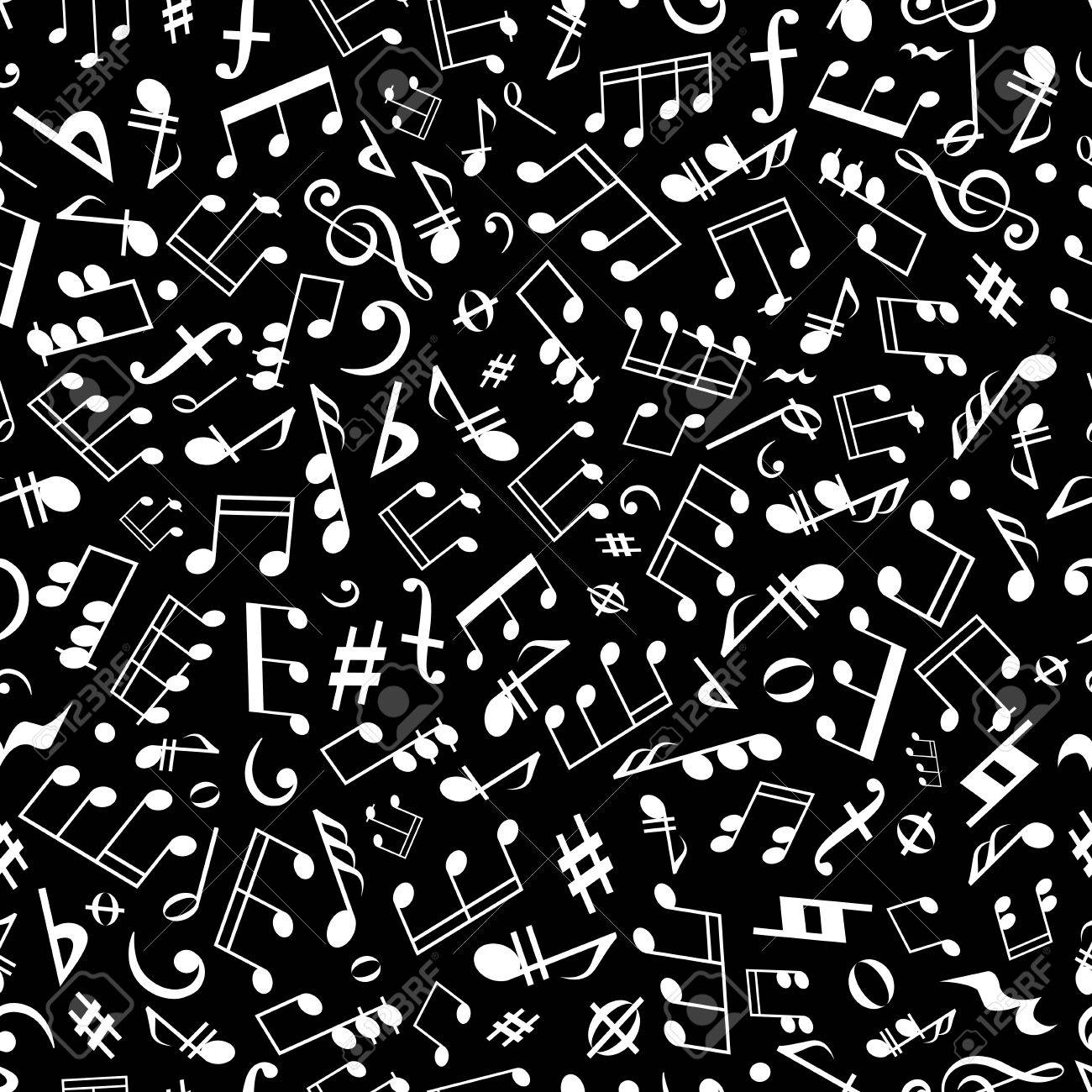 Seamless white musical notation pattern on black background for music arts and entertainment themes design