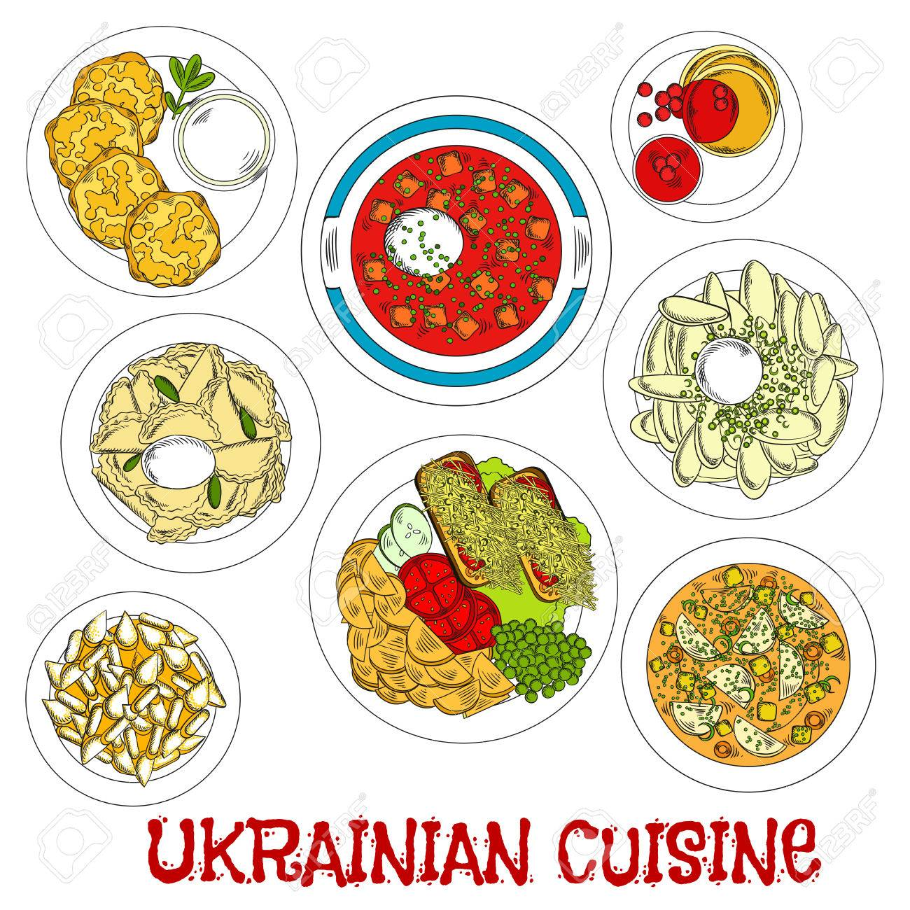 Meatless dishes of ukrainian cuisine for lent sketch symbol with meatless dishes of ukrainian cuisine for lent sketch symbol with vegetarian borscht and soup potato biocorpaavc