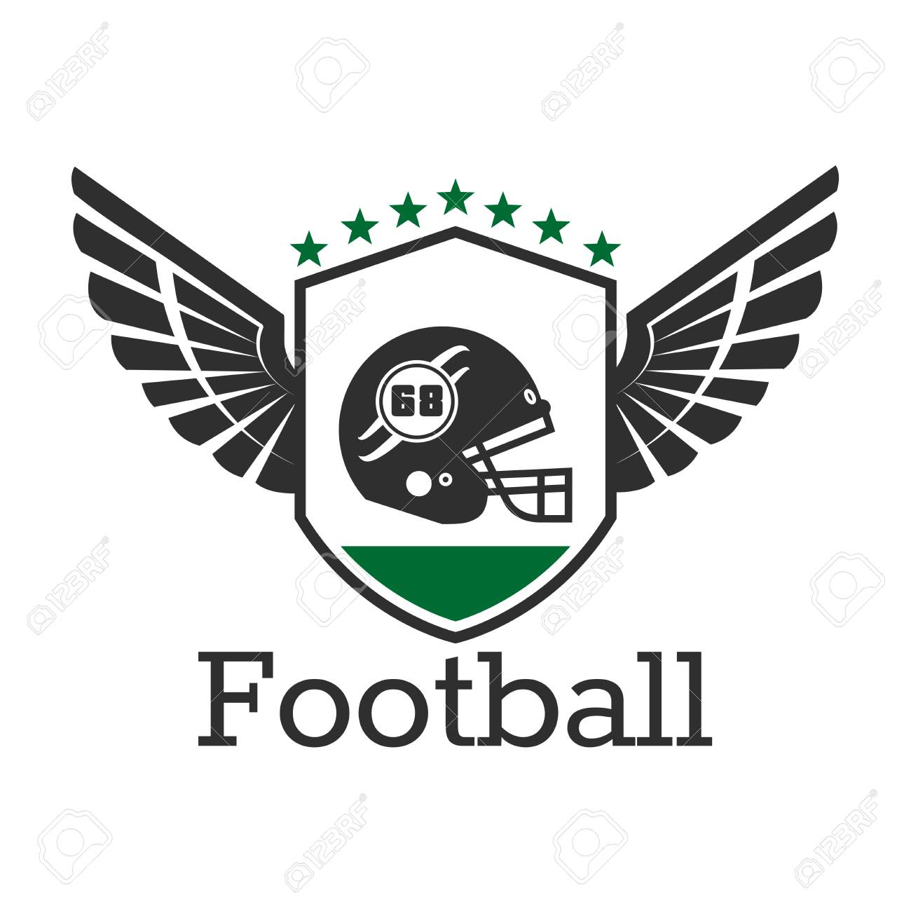 a0a09c665d8 American football retro badge of protective helmet with face mask on winged  shield with stars on