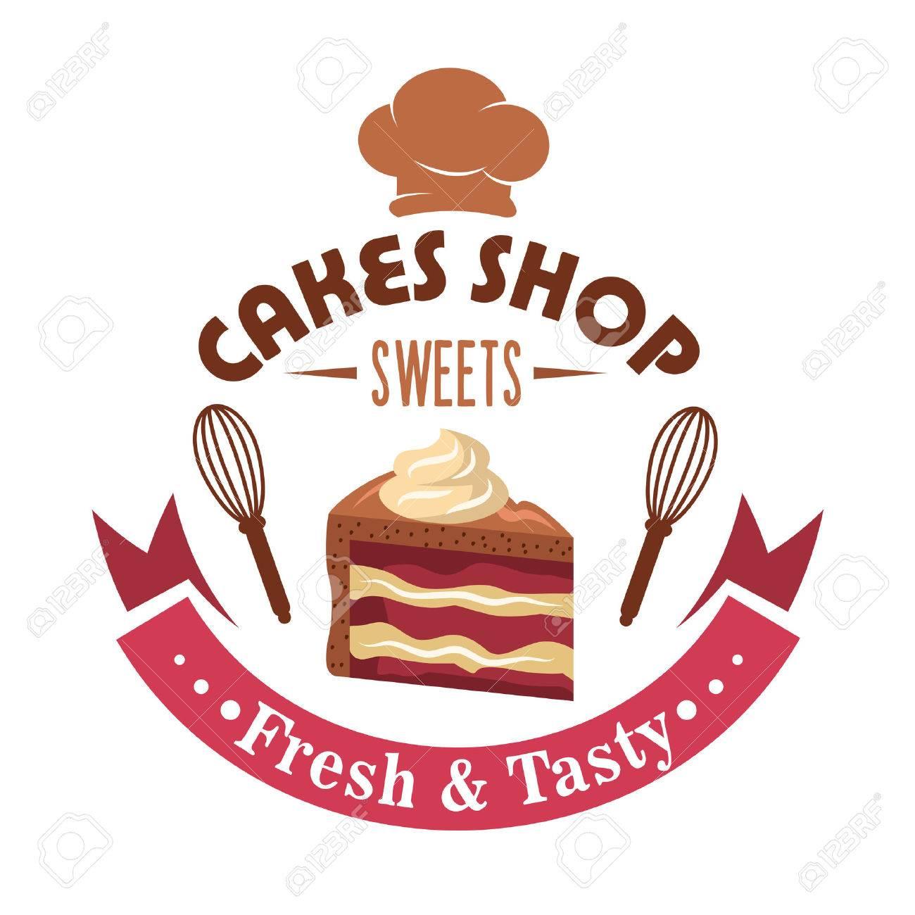 Cake shop retro symbol design with slice of layered strawberry cake shop retro symbol design with slice of layered strawberry cake with chocolate frosting garnished by buycottarizona