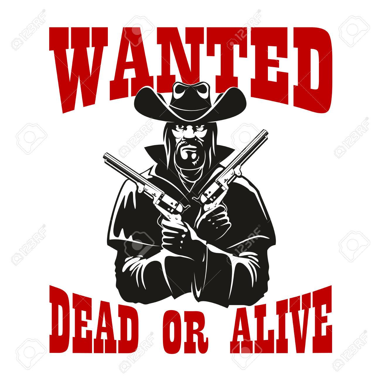 Dangerous Criminal Cowboy Wanted Dead Or Alive Poster Icon With – Wanted Criminal Poster