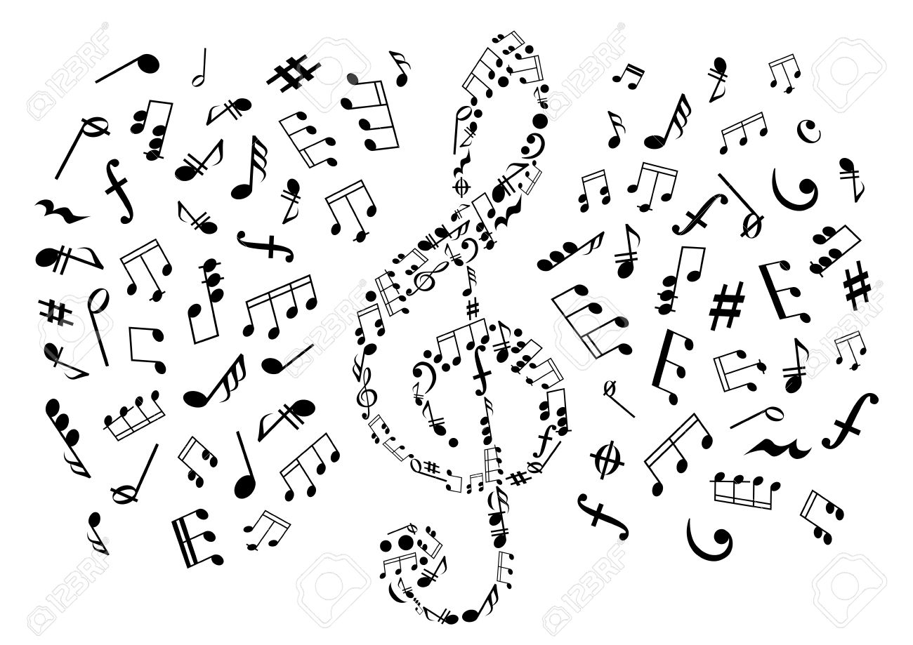 Treble Clef Icon Composed Of Musical Symbols And Marks Surrounded