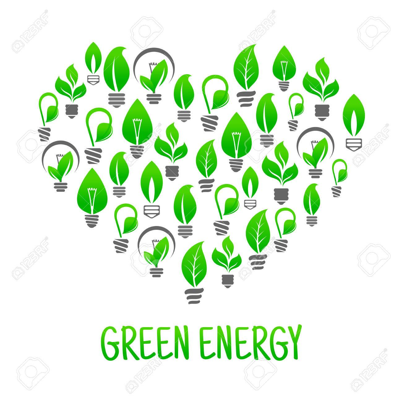 Green Energy Heart Abstract Symbol With Ecology Friendly Light