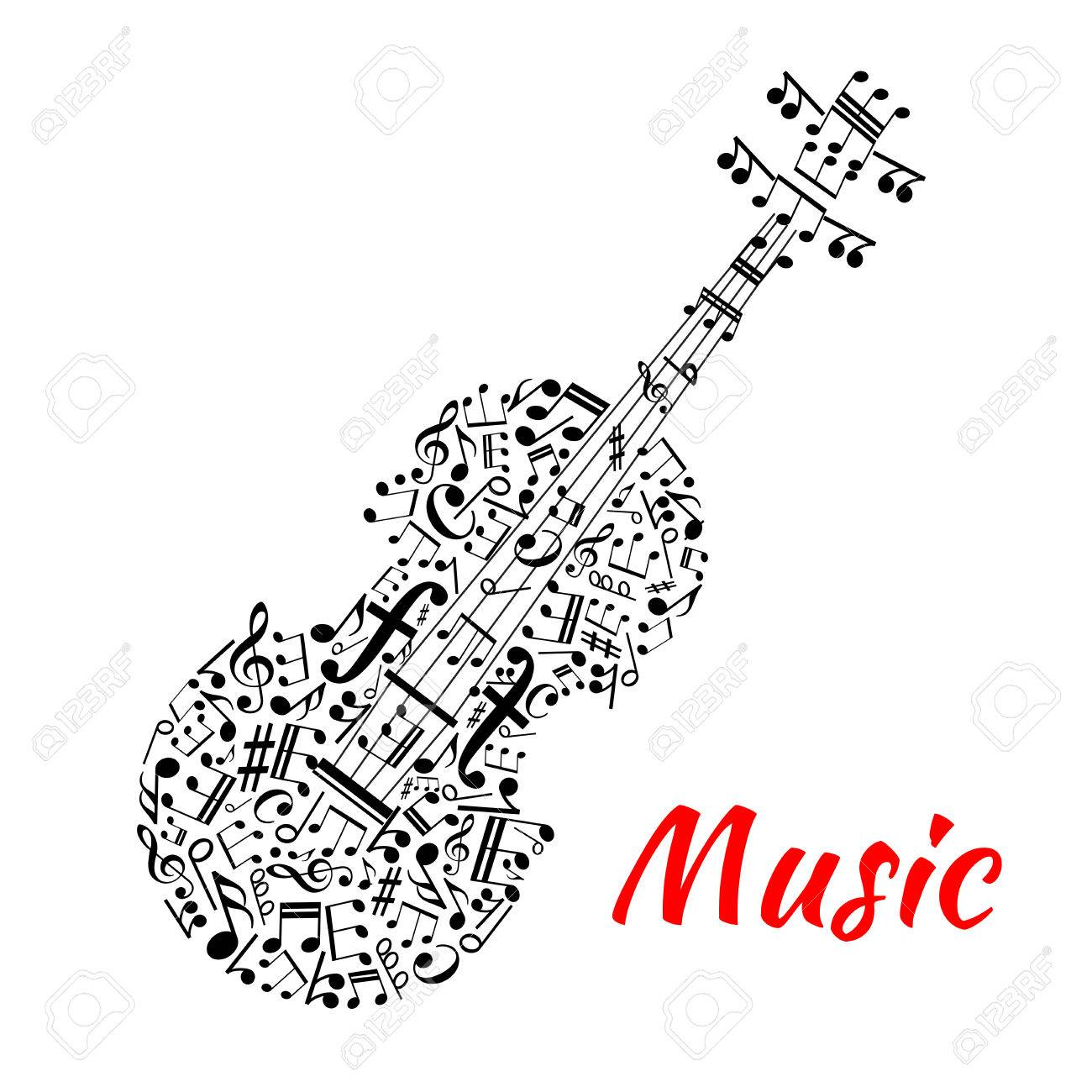Musical notation symbols and marks arranged into a shape of violin musical notation symbols and marks arranged into a shape of violin with fingerboard and strings made biocorpaavc